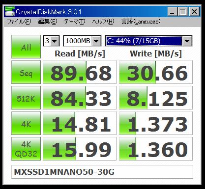 MXSSD1MNANO50-30G Crystal Disk Mark ベンチマーク